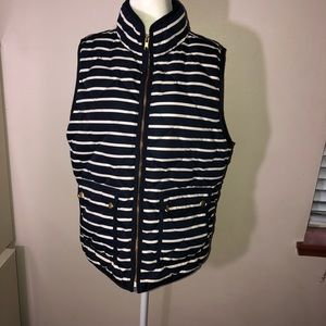 J. CREW Striped Quilted Puffer Down Vest Sz L